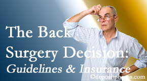 Dr. Hoang's Chiropractic Clinic realizes that back pain sufferers may choose their back pain treatment option based on insurance coverage. If insurance pays for back surgery, will you choose that?