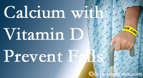 Calcium and vitamin D supplementation may be suggested to Montreal chiropractic patients who are at risk of falling.
