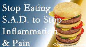 Montreal chiropractic patients do well to avoid the S.A.D. diet to reduce inflammation and pain.