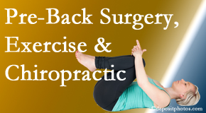 Dr. Hoang's Chiropractic Clinic offers beneficial pre-back surgery chiropractic care and exercise to physically prepare for and possibly avoid back surgery.