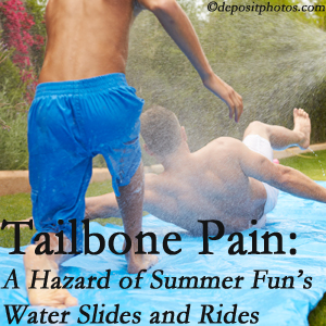 Dr. Hoang's Chiropractic Clinic offers chiropractic manipulation to ease tailbone pain after a Montreal water ride or water slide injury to the coccyx.