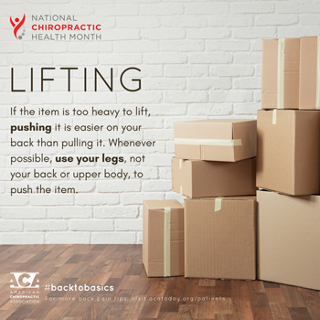 Dr. Hoang's Chiropractic Clinic advises lifting with your legs.
