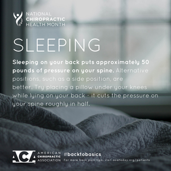 Dr. Hoang's Chiropractic Clinic recommends putting a pillow under your knees when sleeping on your back.